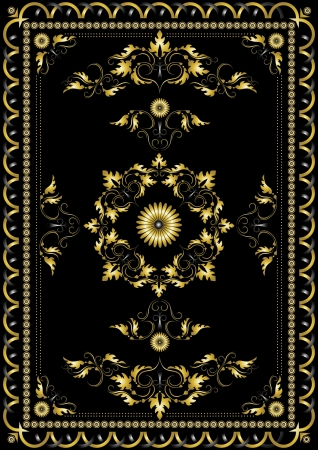 Decorative gold oriental pattern for the carpet on a black background