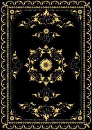 orientalische muster: Dekorative gold orientalisches Muster f�r den Teppich auf einem schwarzen Hintergrund