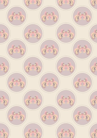 Light beige  seamless background with flower and beads Illustration