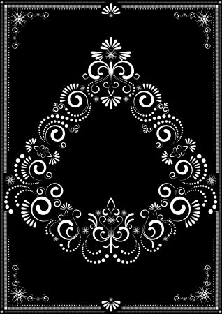 Decorative white frame ornament on a dark background Vector