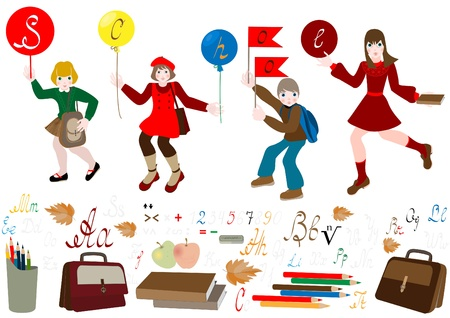 Schoolchild hurry to school  Vector