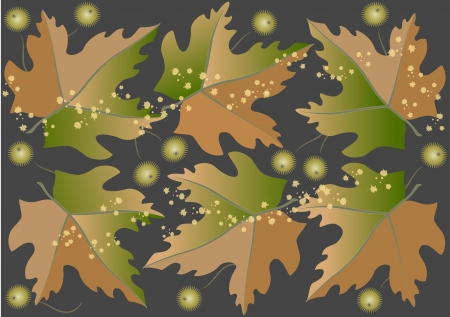 Seamless background from autumn leaves and fruits Stock Vector - 15474129