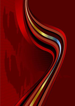 Bright wavy stripes on a dark red background Vector