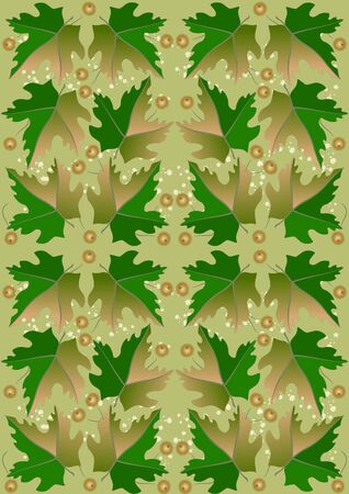 Seamless background from green leaves and fruits   Stock Vector - 16161740
