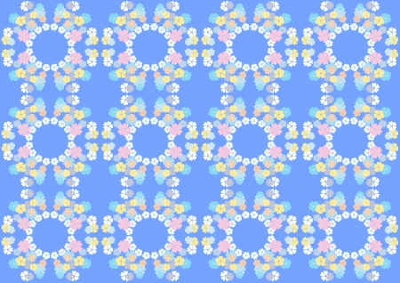 Gentle flowers on the blue seamless background Stock Vector - 16161732