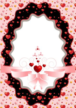 Oval frame with hearts and pink bow Stock Vector - 17023432