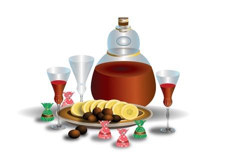 weingläser: Die ungew�hnliche Flasche Wein und Weingl�ser