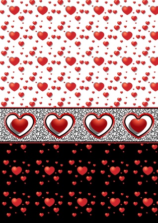 Options seamless backgrounds with different hearts Stock Vector - 17023429