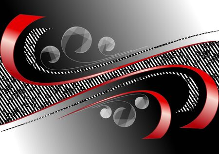 Red curves strips on satin black background Stock Vector - 17023431