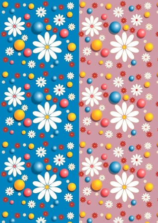 Gentle seamless background with flowers and little balls Stock Vector - 17114953