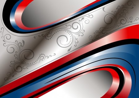 Red and blue curves and patterns on wavy frame Stock Vector - 17114943
