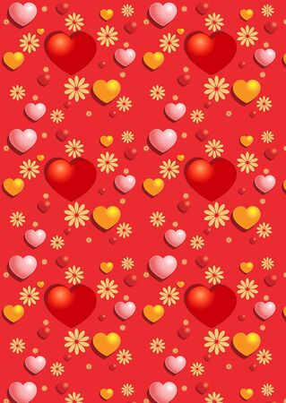 Gentle red hearts on the red seamless background Stock Vector - 17114949