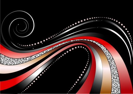 vibration: Colored and silver wavy stripes and stars on black background Illustration
