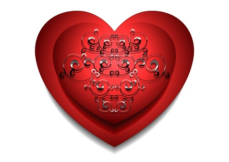 convex: Convex red heart with silver pattern