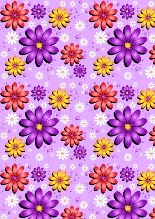 Gentle purple seamless background with flowers Vector