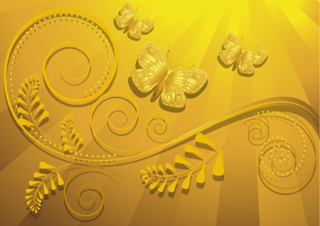 radiant: Gold butterfly on yellow radiant background
