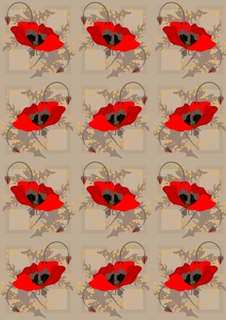 Red poppies a light brown  seamless background Vector