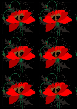 Poppies and flower buds a black seamless background Vector