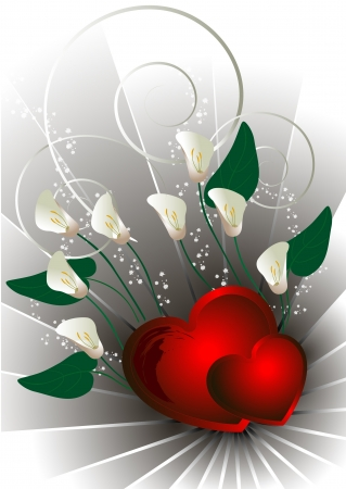 Red hearts with white flowers calla Vector