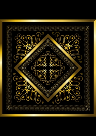 Gold frame with openwork ornament Stock Vector - 18269224