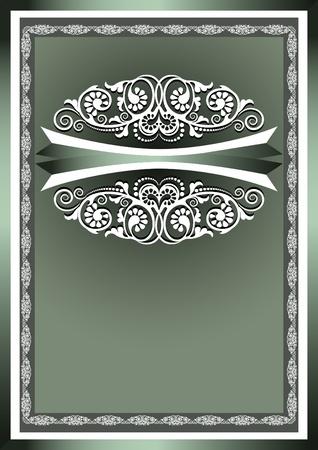 fondo verde oscuro: Adornos marco blanco en un fondo verde oscuro Vectores