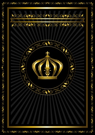 Gold frame with a badge and crown on black background Illustration