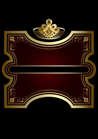 burgundy ribbon: Cornice oro con brillante sfondo bordeaux con una corona d'oro