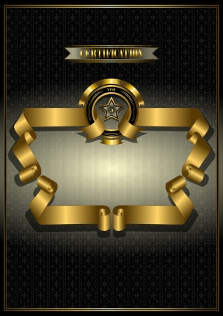 Gold frame for awards on patterned dark background Vector