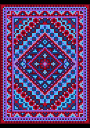 Vivid carpet old style in blue and purple shades