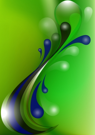 nbsp: Blue and black from the falling drops on green mesh background Illustration