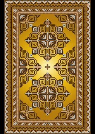 black carpet: Bright carpet in the old style with a gold background Illustration
