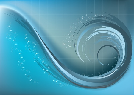 nbsp: Waves with foam of bubbles on blue mesh gradient background   Illustration