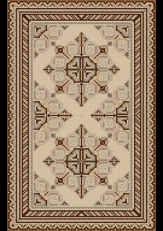 Oriental pattern for light carpetwith beige and brown shades Vector
