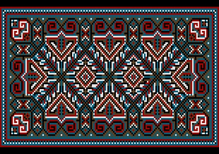 nbsp: Bright carpet old style in blue and burgundy shades