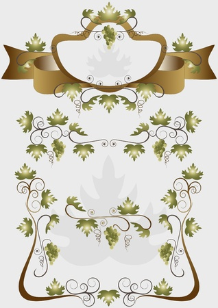 nbsp: Details for decoration design products of grapes Illustration