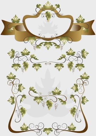 nbsp: Details for decoration design products of grapes Illustration