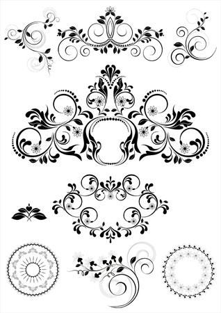 Collection of patterns and round frames    Illustration