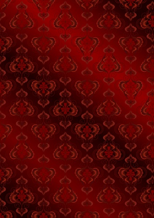 undulating: Undulating red burgundy�seamless background�with vintage patterns