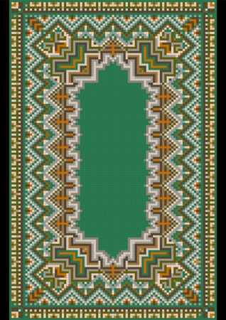 bedspread: Frame pattern for carpet with variegated green shade Illustration
