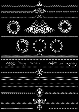 Collection of white patterns for brushes on black background     Stock Vector - 21735385