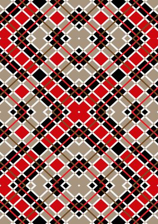 motley: Motley red brown white squares on beige seamless background Illustration