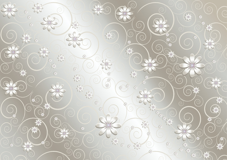 Light flowers and twisted lines on shiny gray background Stock Vector - 23192043