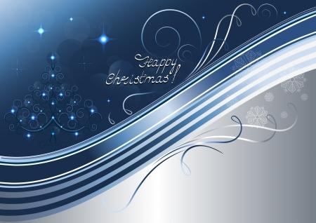 à blue: Calado del árbol de navidad y las estrellas brillantes sobre fondo azul plateado Vectores