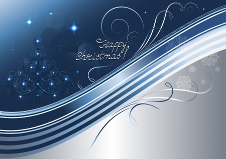 blue christmas background: Openwork Christmas tree and bright stars on silvery blue background