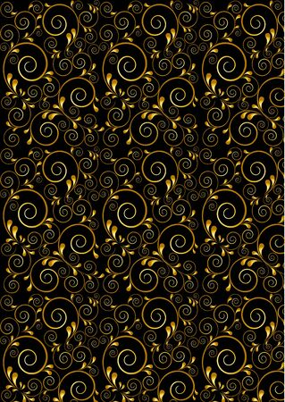 Gold twisted lines with curves drops on a black background Stock Vector - 23192093