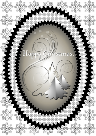Oval frame with Christmas tree on the background of snowflakes Vector