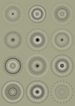 assemblage: Assemblage of calligraphy round ornaments on beige background Illustration