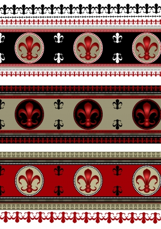Set of seamless backgrounds borders  with  heraldic  lily Vector