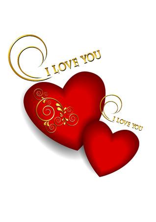 volumetric: Dos corazones rojos volum�tricos con adornos de oro sobre fondo blanco Vectores