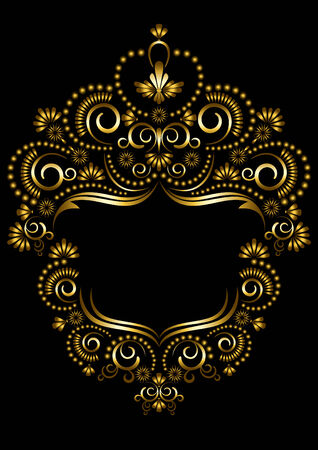 etnic: Decorative gold frame in oriental style on a black background   Illustration